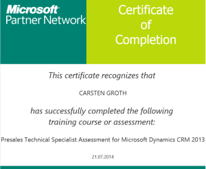 MPN Presales Technical Specialist Assessment for MSDynCRM 2013
